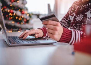 Women shopping online during Christmas